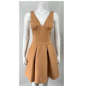 NEW NBD Satin Peplum Mini Dress Brown Small F5